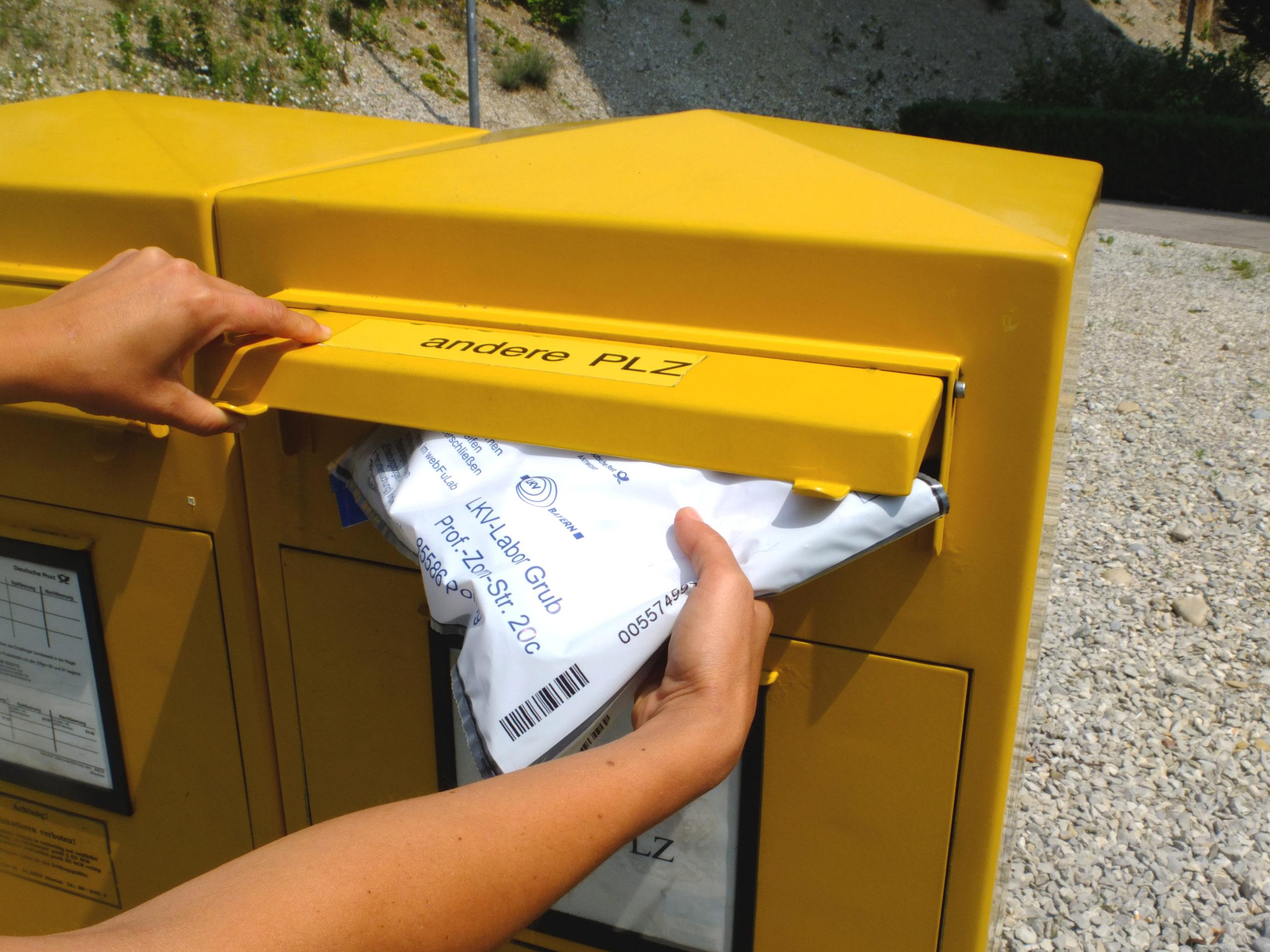 Verschicken der Futterprobe auf dem Postweg, etwa ein bis zwei Tage nach dem Postversand erreichen die Futterprobetaschen das Labor.