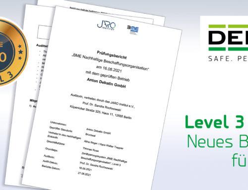 """Geprüft und bestanden: DEBATIN mit Siegel """"BME Nachhaltige Beschaffungsorganisation"""" (Level 3) ausgezeichnet!"""